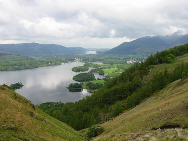 Derwent Water and Bassenthwaite Lake from above Cat Gill