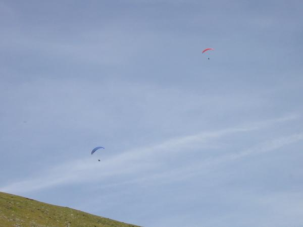 Paragliders above Blease Fell