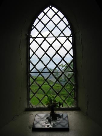 The memorial and Haystacks through the window