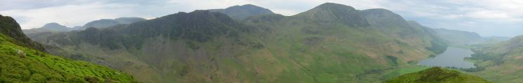 South to northwest panorama from the climb up Fleetwith Pike's NW ridge