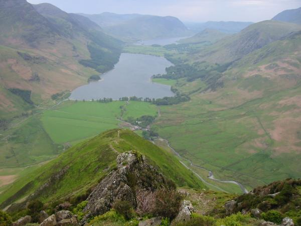 Looking down on Buttermere from high up on the ridge