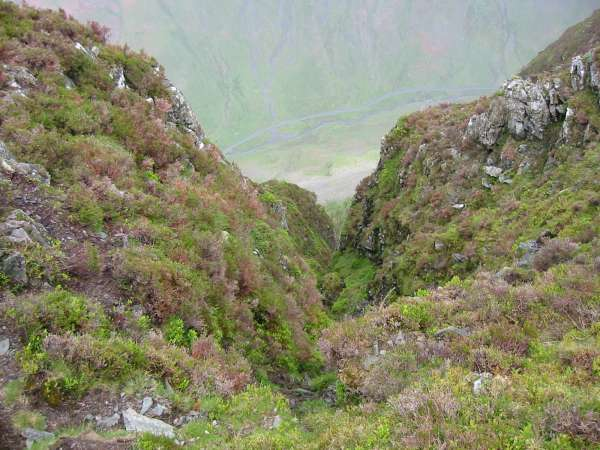 Looking down one of the gullies to Gatesgarthdale Beck and the Honister Pass road