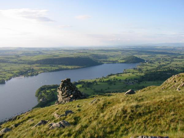 Looking northeast from the beacon towards the conical wooded hill of Dunmallet near Pooley Bridge, Ullswater