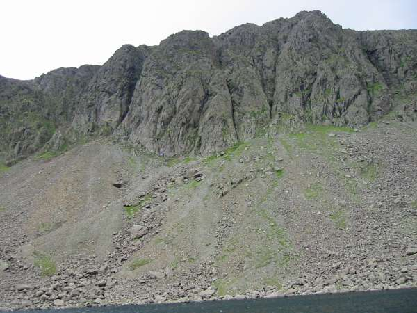 Looking up at Dow Crag from Goat's Water