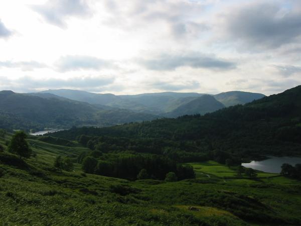 The central fells from the path above the cave