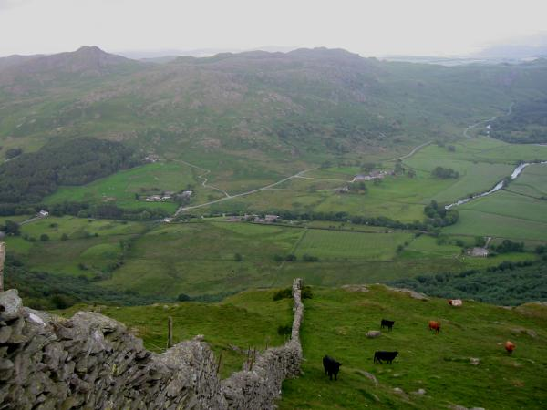 Looking down on Ulpha and the Duddon Valley from The Pike's summit