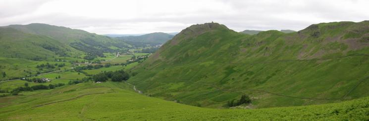 The main road (A591) and Helm Crag from higher up the ridge
