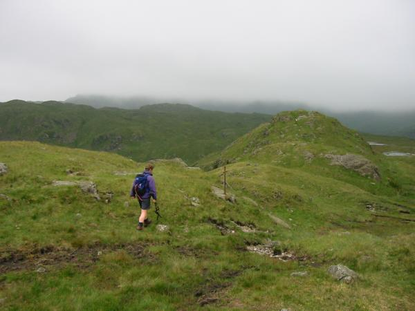 Heading towards Calf Crag (seen centre visible skyline)