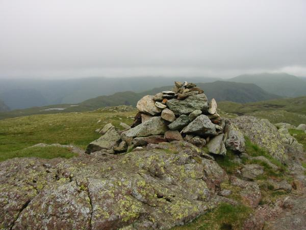 Steel Fell and Seat Sandal, far right with its top in cloud from Calf Crag summit