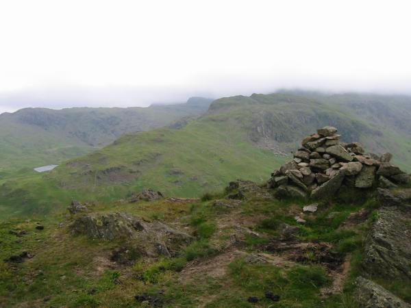 Easedale Tarn and Tarn Crag from Gibson Knott's summit