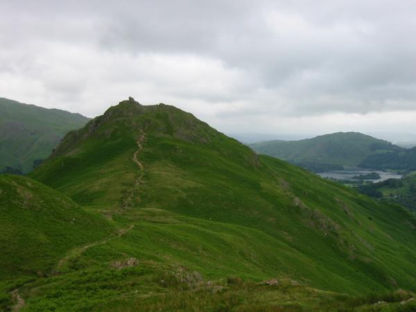Helm Crag from its ridge with Gibson Knott