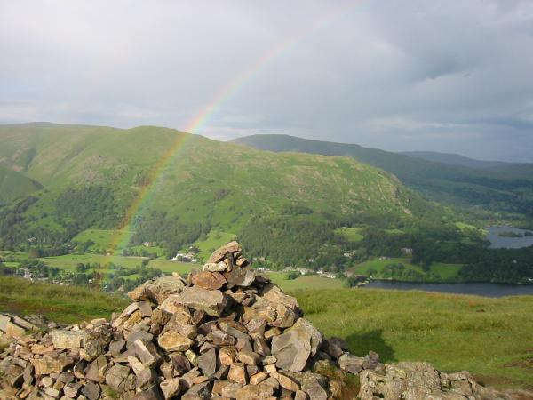 Heron Pike with Red Screes behind, Grasmere and Rydal Water from Silver How's summit cairn
