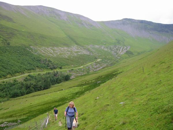 Hobcarton Valley. Grisedale Pike is the peak on the left