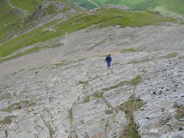 Ascending the slabs onto Hopegill Head