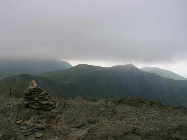 The weather closing in. Sand Hill and Hopegill Head with Grasmoor (left) in cloud from Grisedale Pike summit
