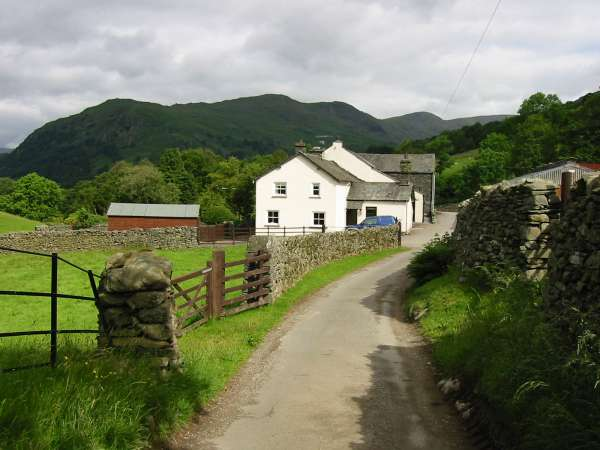 Nook End Farm and the west arm of the Fairfield Horseshoe (Nab Scar, the double top of Heron Pike and Great Rigg)
