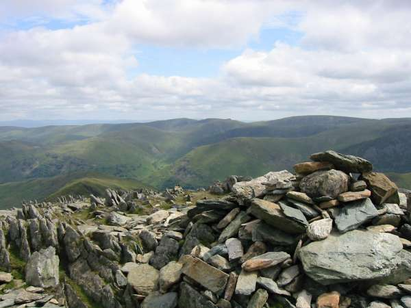 The Far Eastern Fells from Hart Crag's summit (southeast and higher cairn)