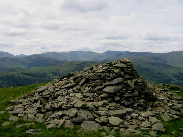 The Langdale Fells from Nab Scar's summit cairn