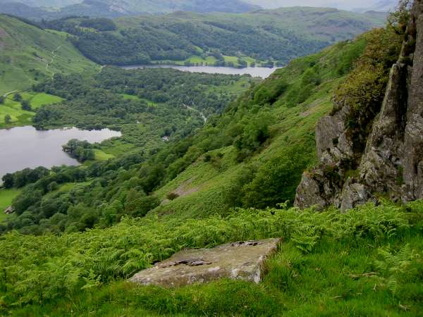 Rydal Water and Grasmere from the yard square stone block on Nab Scar marking the Thirlmere aqueduct vertically below