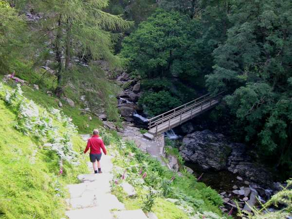 Descending to the footbridge, Tilberthwaite Gill