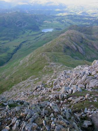 Looking back down Wetherlam Edge towards Little Langdale Tarn
