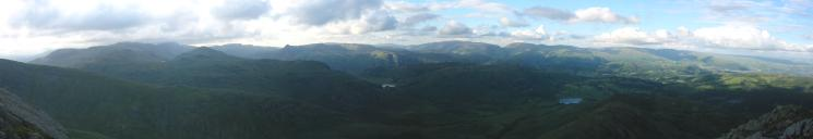 Northerly Panorama from the top of Wetherlam Edge