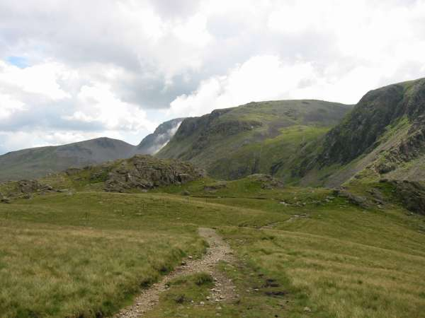 Green Gable, Great Gable, cloud flowing through Beck Head and Kirk Fell from above Black Sail Pass