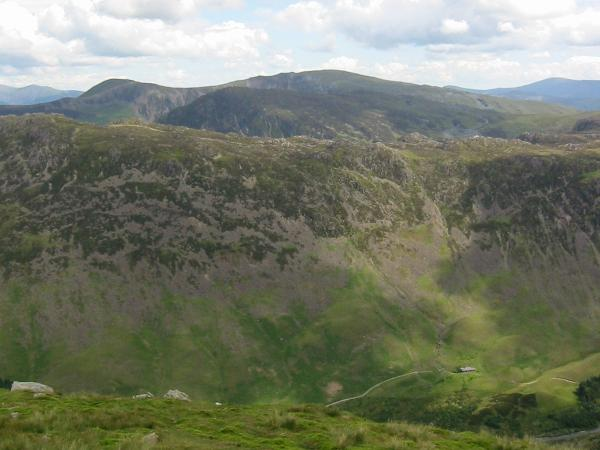 A tiny Black Sail Youth Hostel below Haystacks from Looking Stead