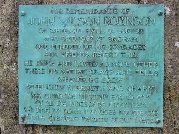 Robinson's Cairn plaque