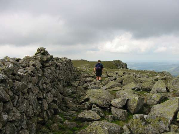 Little Scoat Fell summit cairn, on top of the wall