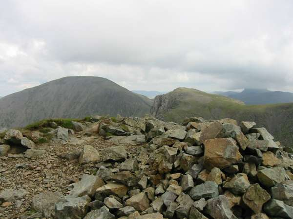 Pillar from Steeple's summit with Great Gable on the right with its top in cloud
