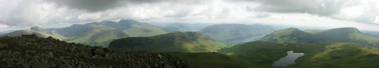 Panorama of the Wasdale Fells from The Chair, Red Pike