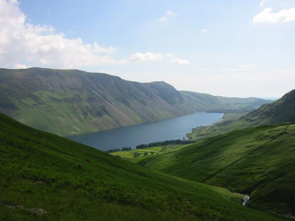 Wastwater and the Screes from the side of Yewbarrow, above Over Beck