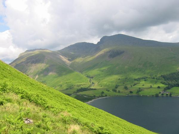 Lingmell,  Scafell Pike and Scafell from Yewbarrow's south ridge
