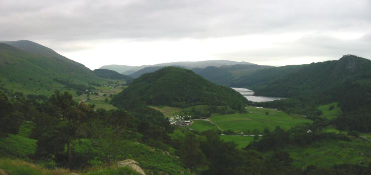 Great How and the north end of Thirlmere with Raven Crag on the far right from the southern end of High Rigg