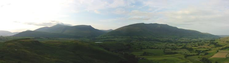 Panorama of the Skiddaw fells and Blencathra with Great Calva inbetween
