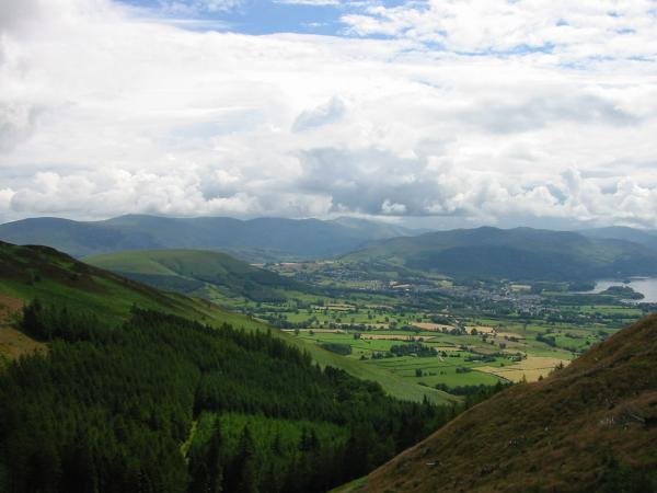 Latrigg, the northern end of the Helvellyn ridge, the northern central fells and Keswick