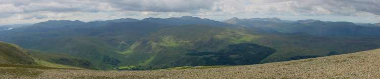 Westerly panorama from Helvellyn summit