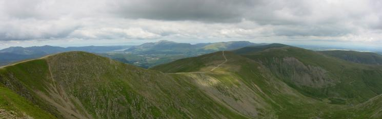 Lower Man, White Side, Raise and the Dodd's ridge with the northwestern fells, Skiddaw and Blencathra in the distance