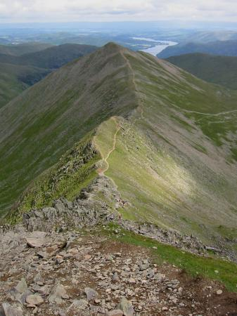Looking down Swirral Edge to Catstycam