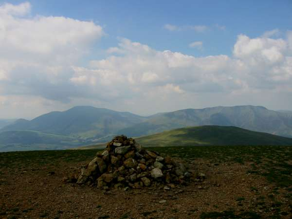 Clough Head with Skiddaw and Blencathra behind from Great Dodd's summit