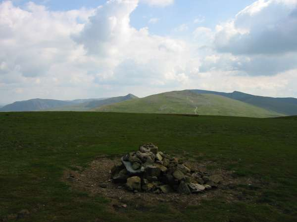 St Sunday Crag, Catstycam, Raise with Helvellyn behind and Lower Man from Stybarrow Dodd's summit