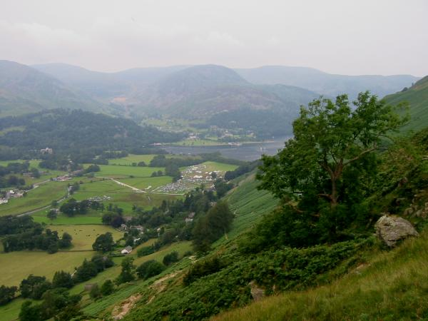 The head of Ullswater and Sheffield Pike in the haze from the path up to Boredale Hause
