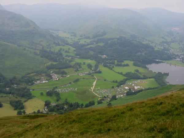Looking down on Patterdale, the orienteering car park and the tents of the Scout's Jamboree