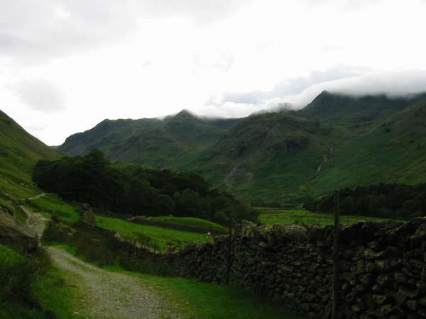 Dollywaggon Pike and Nethermost Pike in cloud from Grisedale