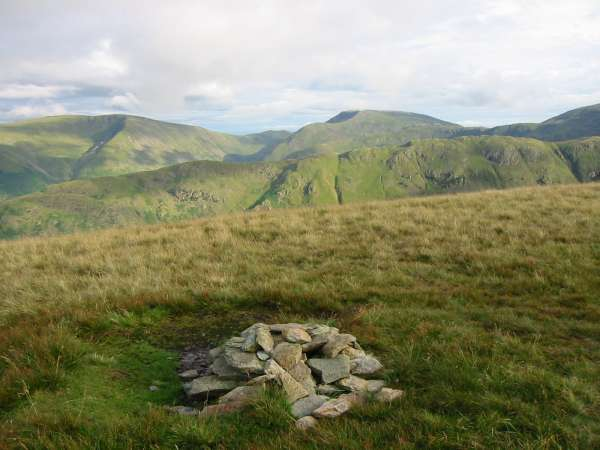 Caudale Moor and Red Screes on the skyline with the long ridge of Hartsop Above How in front from Birks summit