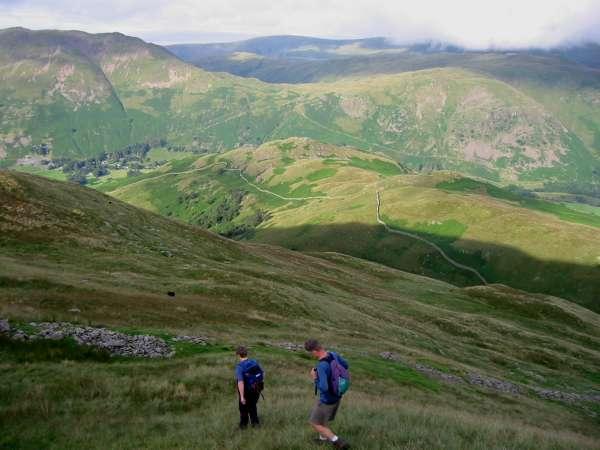 Descending off Birks towards Arnison Crag