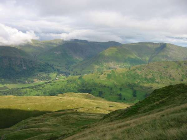 High Street ridge in cloud, Gray Crag, Hartsop Dodd with Thornthwaite Crag behind and Caudale Moor