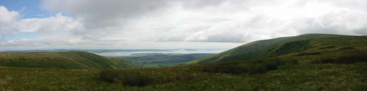 Panorama south from Whitecombe Head with White Combe left and Black Combe right