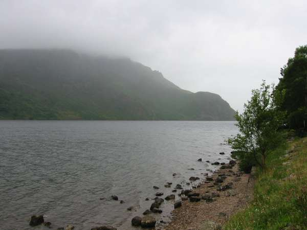 Crag Fell in cloud and Anglers' Crag seen across Ennerdale Water